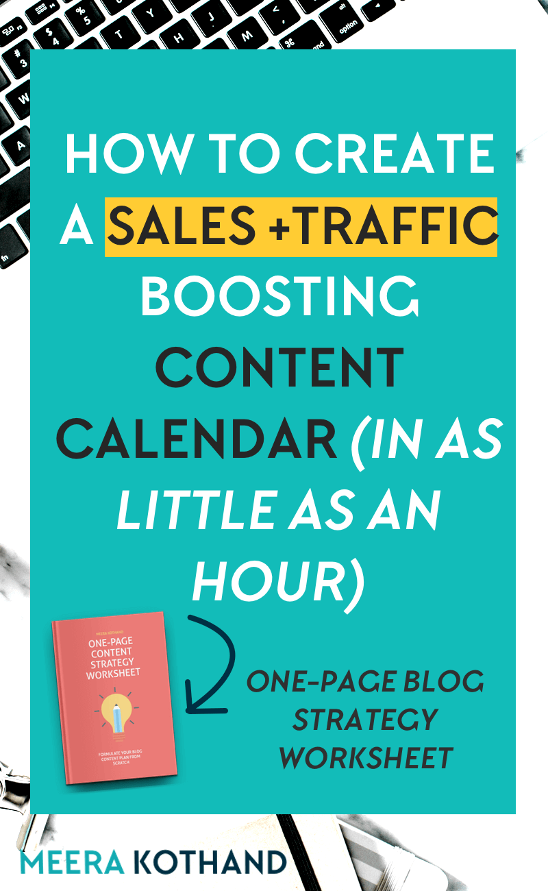 A sales + traffic boosting content calendar in an hour. Really? If you're struggling to come up with a content calendar of ideas that drive your readers to take action, this post will give you 6 key steps to help you flesh out ideas that work for your blog and business.